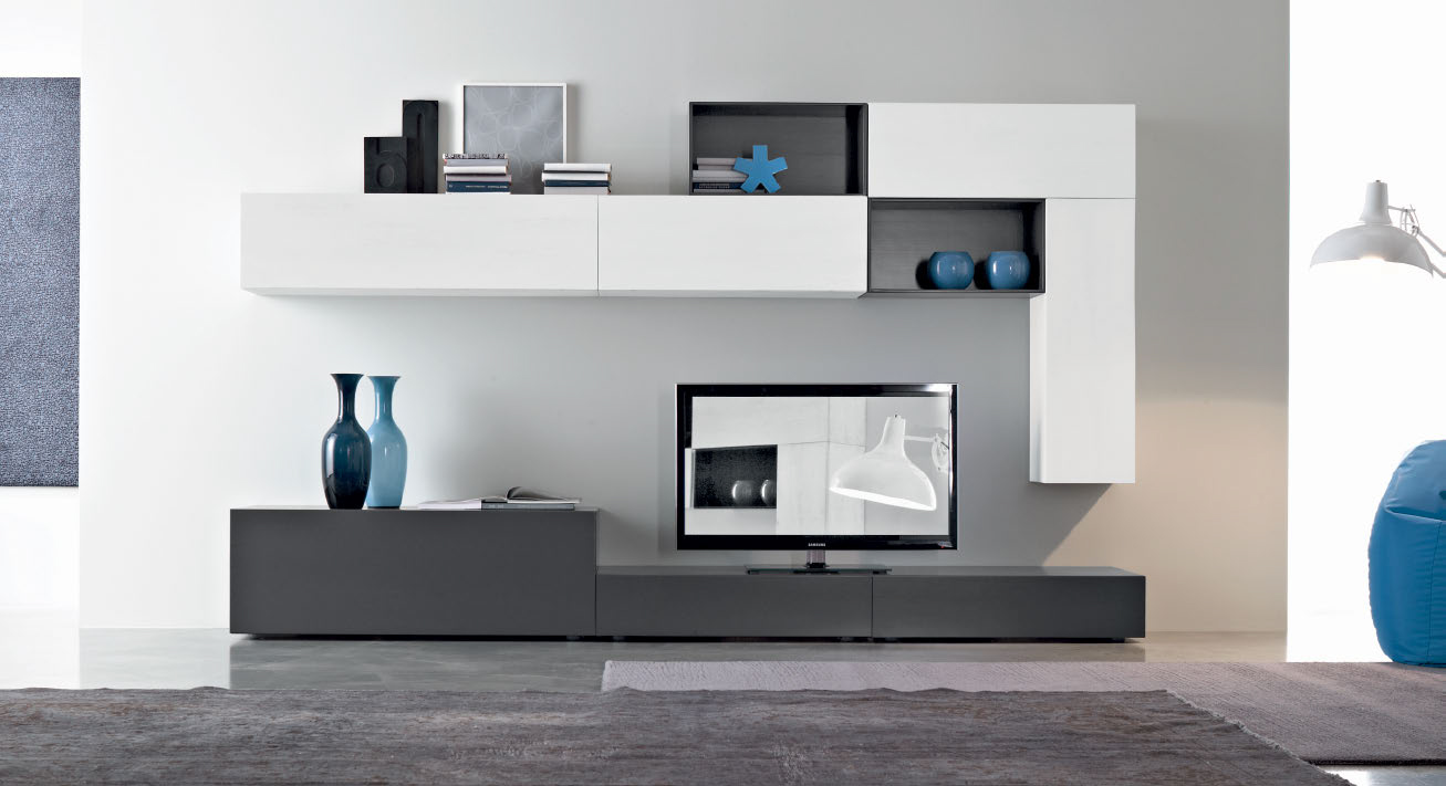 wohnwand weiss grau tv grima wohndesign. Black Bedroom Furniture Sets. Home Design Ideas